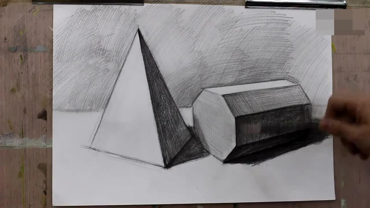 素描圆锥贯穿体的结构画法,单个静物石膏几何体的绘画
