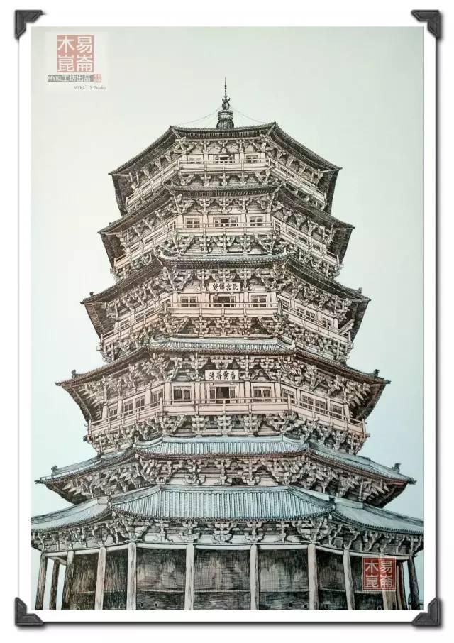 中国古代建筑速写-古建 一座塔,千世不覆铸就的万代传奇