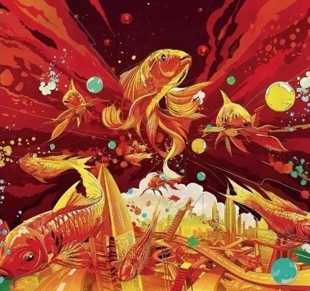 鸡年春节插画手绘