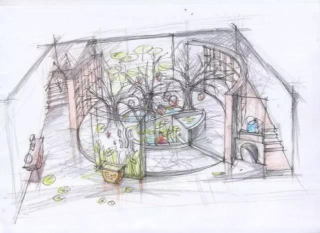 水主题自然教育图书馆手绘图