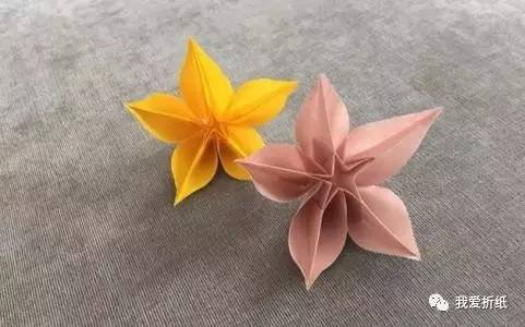 怎么折纸杨桃花 手工折杨桃花的折法图解