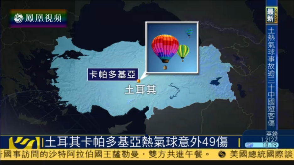 土耳其发生热气球事故 逾30名中国游客受伤