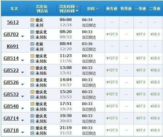 最新最全!重庆市区到重庆各区县的火车、高铁车次及时刻表!赶紧收藏!