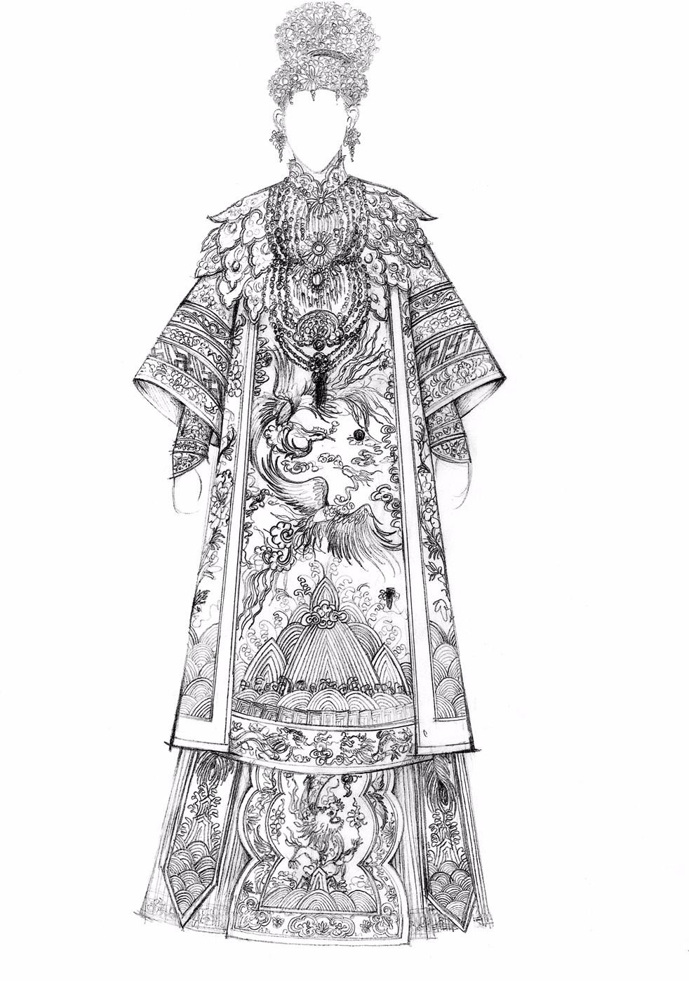 手绘婚纱设计图 铅笔画步骤展示