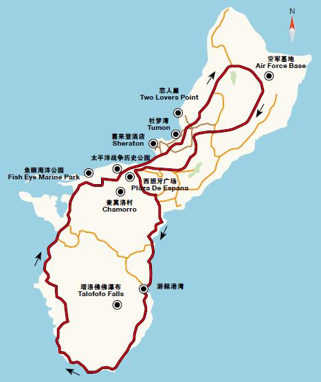 环岛线路:关岛的大部分景点集中在西北部
