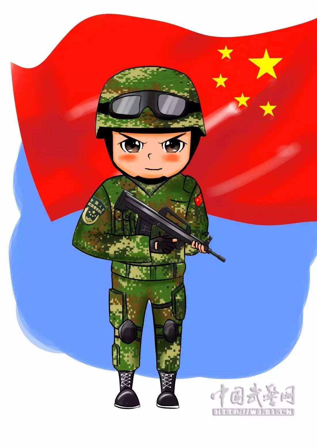 卡通武警敬礼图片