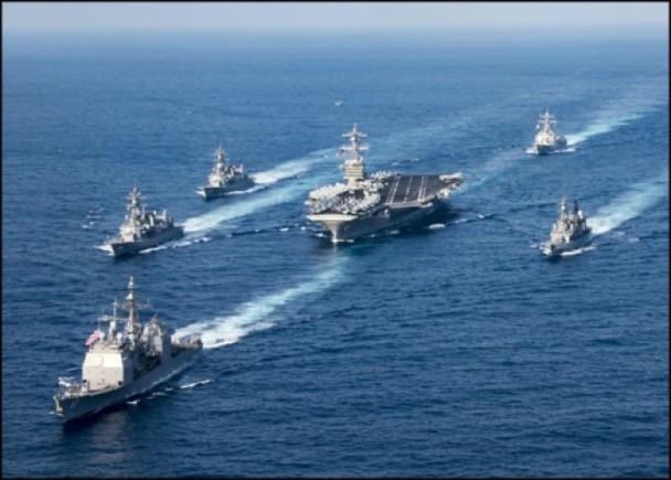 """""""卡尔文森号""""航空母舰战斗群震慑太平洋.-美航母北上朝鲜出师不"""