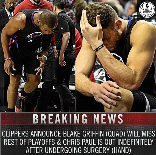 保罗无限期休战格里芬赛季报销快船说翻就翻