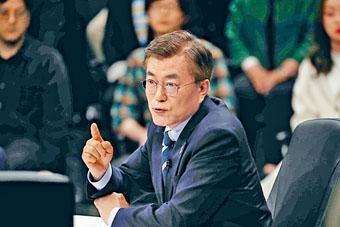 文在寅周二晚參加電視辯論。