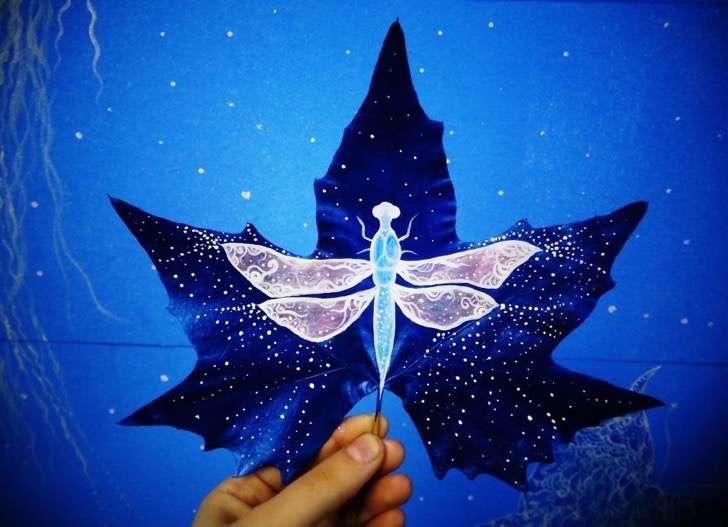 原标题:这么梦幻的树叶画你见过吗?(组图)   国际在线专稿:据智利Upsocl网站5月10日报道,Kristi Botkoveli和Beka Zaridze 是两名自学成才的艺术家,他们用自己的树叶作品惊艳了网友。他们将落叶作为画布,来施加魔法,让树叶呈现出迷人的场景。   而这个创意的灵感来的十分偶然,就是两个人散步的时候,捡到了一片树叶。而在爱情的催化下,俩人决定一起创作一幅美丽的树叶图画。   1.