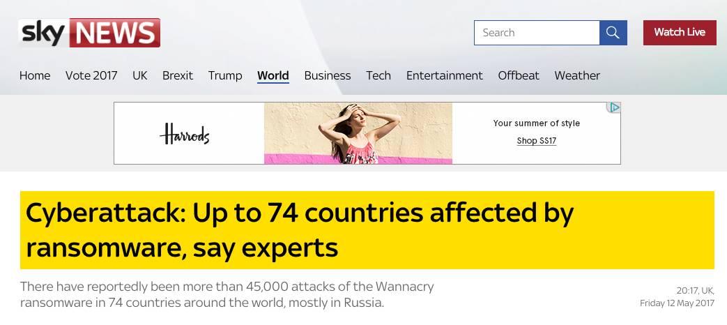 """突发!比特币勒索病毒席卷全球!中英同时""""沦"""