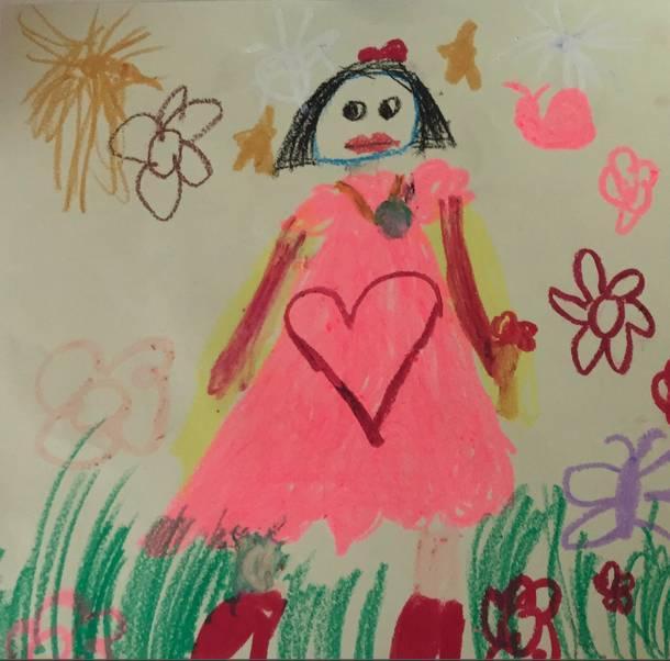 我们请三个孩子各自画了一幅画,画中是他们的妈妈.或许他们未必能