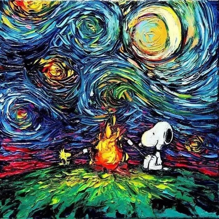 梵高的星空遇上宫崎骏龙猫