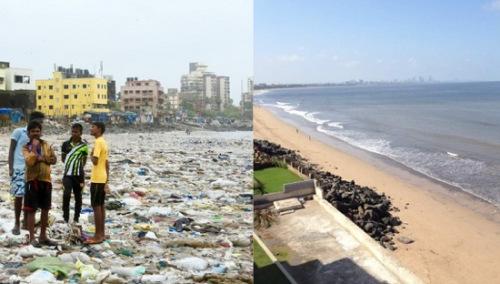 """过去的""""垃圾沙滩""""(左)和清理完毕的沙滩(右)。图片来源:联合国环境署"""