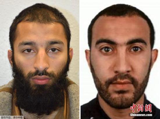 当地时间6月5日,伦敦警察局宣布,3日晚发生的伦敦恐怖袭击事件的其中两名袭击者身份已经确认,分别是27岁的胡拉姆・布特(左)和30岁的拉希德・瑞多安(右)。这次恐怖袭击事件共有3名袭击者,警方尚未公布另一名袭击者的身份。3名袭击者均在事发地被警察当场击毙。