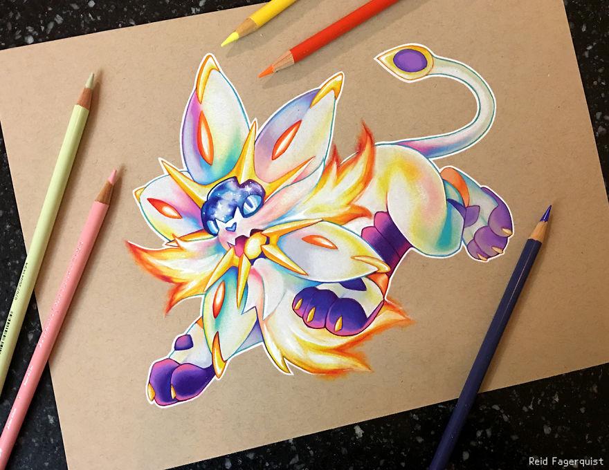 锦鲤图片手绘 彩铅