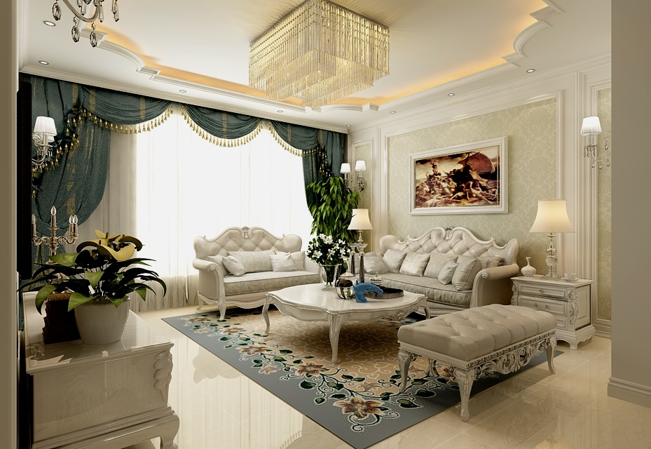 原标题:125现代欧式,优雅高贵又温馨  这是一套面积为125,风格为欧式风格的设计方案,主要设计的区域为客厅、餐厅和卧室; 本案中,大量采用石膏线条,无论是天花还是墙面,都采用了比较多的石膏线,让其线条感强烈,而且层次感也很强烈,说到底,这就是一套典型的欧式风格设计,大家如果家里正好想要装简欧风格的话,可以借鉴下此套案例; 图·赏 picture 客厅 客厅,墙面和天花分别采用了石膏线做造型,再搭配欧式风格的家具,呈现出一个欧式风格的装修;  电视背景墙,中间是瓷砖,两边是艺术雕花,