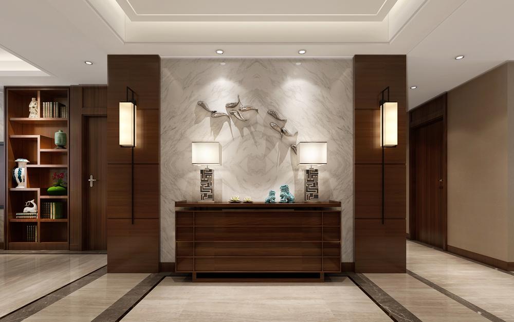 图·赏 picture   玄关 进门后的玄关对着一面墙,墙面以大理石图片