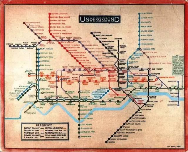 1931年harry beck绘制的伦敦地铁线路图图片
