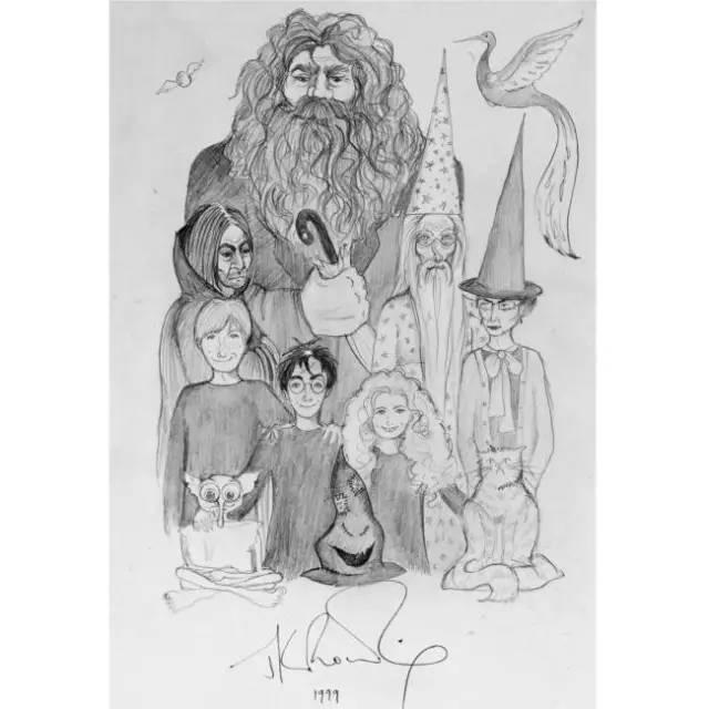 罗琳为《哈利波特与魔法石》手绘的插图