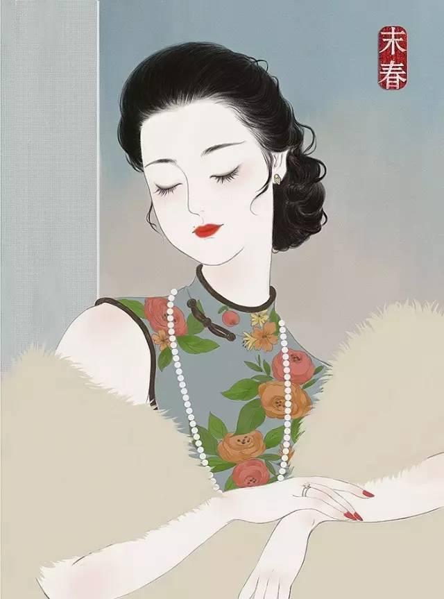 手绘插画旗袍民国女人