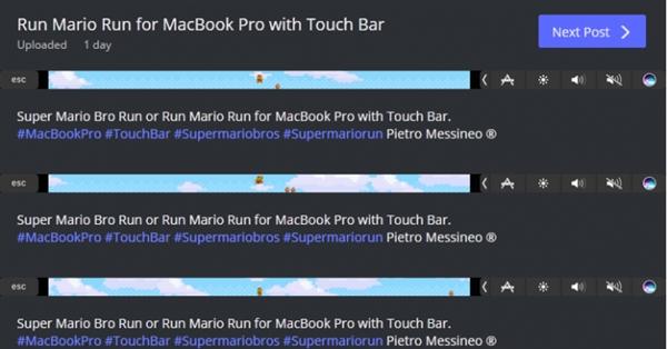 脑洞大开!新MacBook Pro最牛用法:Touch Bar上玩马里奥