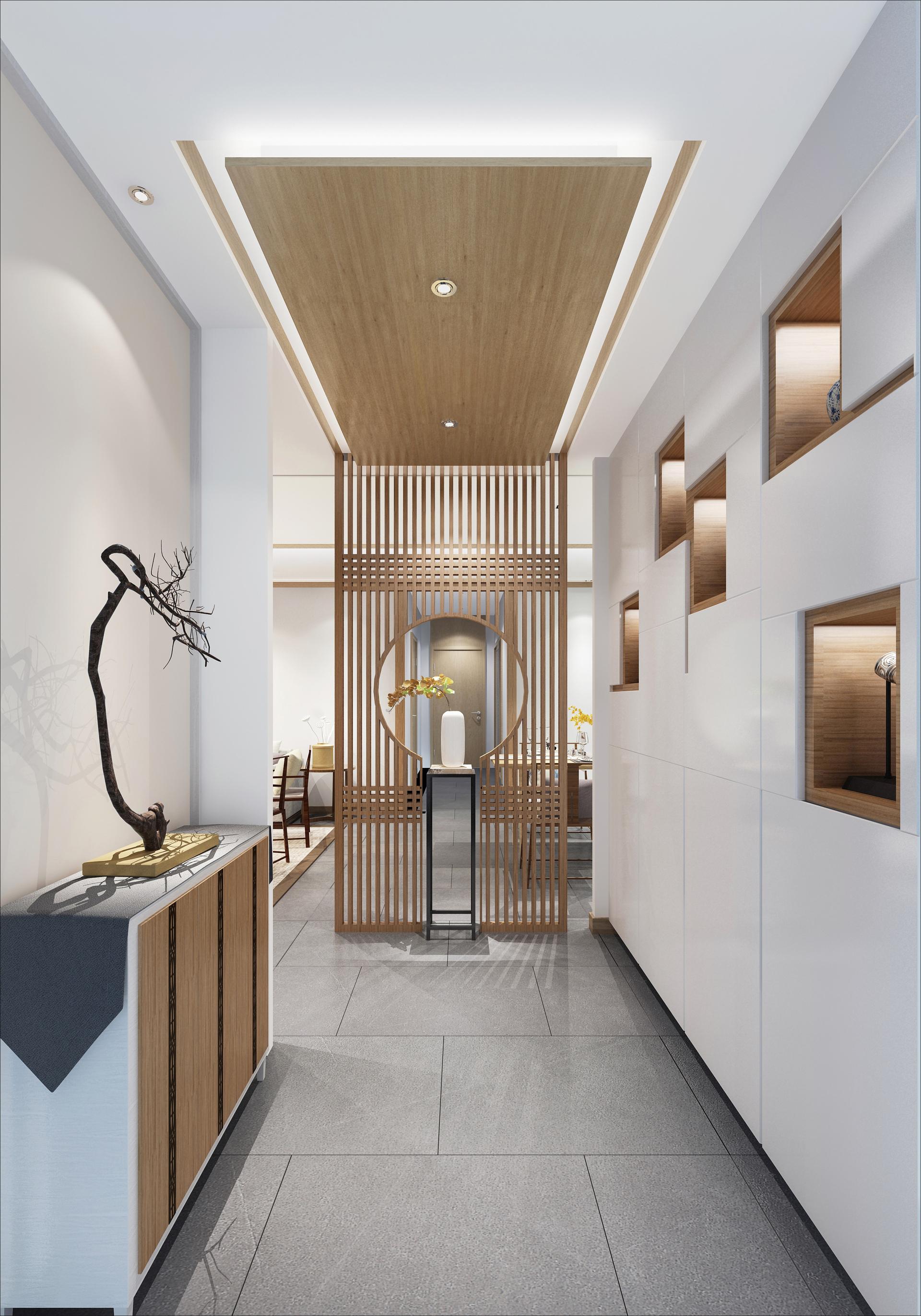 原标题:123现代中式,好漂亮的屏风,一进门就被吸引了 这套120多平米的房子以儒雅自然的现代中式风格装修,通过极简中式风元素搭配,以自然质朴的材质与色调,打造出一个禅意舒适的空间,充满了韵味气息。 图·赏 picture 玄关 因为玄关直对着长走廊,进门后的视觉感太幽深会不适,因此借助客餐厅的进深差在餐厅的墙面延伸出来装了一道中式栏栅屏风,屏风中间留个圆形摆个展示架,摆上一瓶禅意的装饰品;而在玄关的左侧则是摆着一个玄关柜+树枝装饰,右侧这是壁柜+壁龛展示盒组合的墙面,加上延伸到顶部的吊顶,