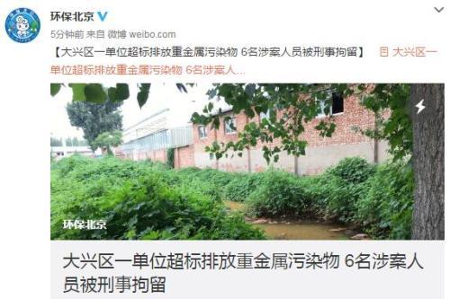 北京大兴一单位超标排放重金属污染物 6人被刑拘