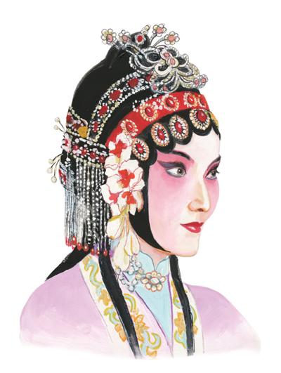 中的国粹京剧 手绘绝美旦角头饰图片
