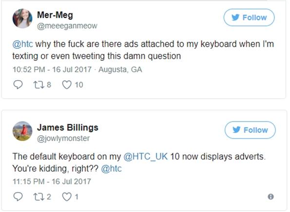 HTC手机自带键盘出现广告 引发用户集体声讨
