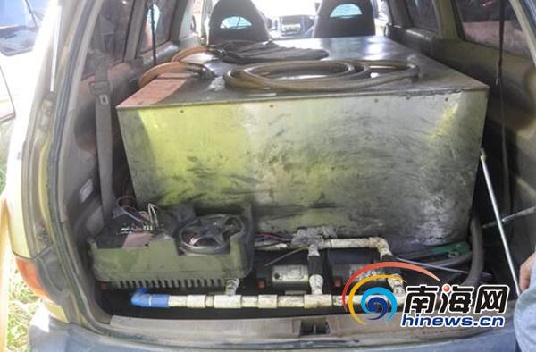 商务车内部改装用于盗窃机动车内燃油 琼海警方抓获3人