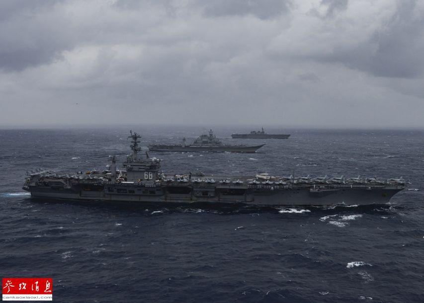 威慑中国!美日印三国航母印度洋军演