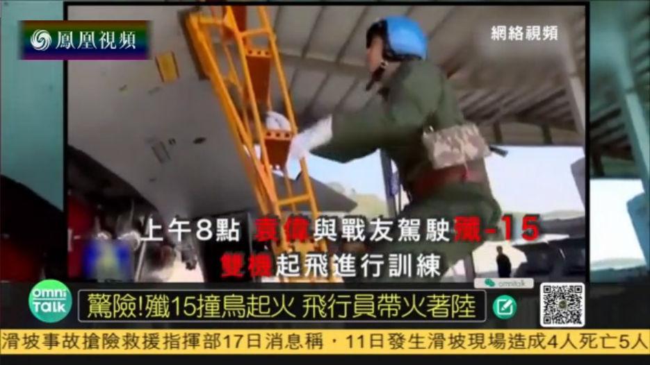 歼-15空中撞鸟起火 飞行员成功挽救战机