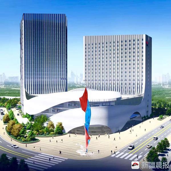 """97米高""""力拔头筹""""雕塑现身乌鲁木齐高铁站北广场"""