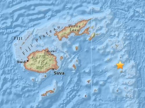 斐济群岛海域发生6.4级地震 震源深度538.6公里