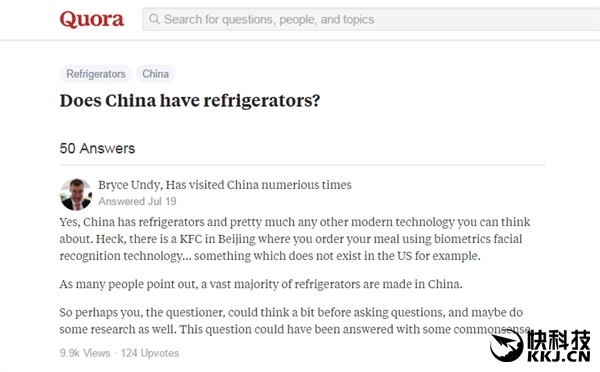 """老外奇葩提问""""中国有冰箱吗?""""网友炸锅"""