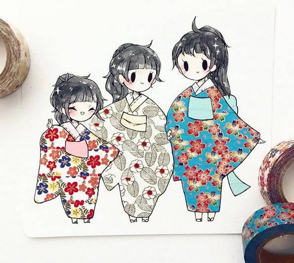【赏析】 日本女画师用纸胶带当涂鸦的工具做