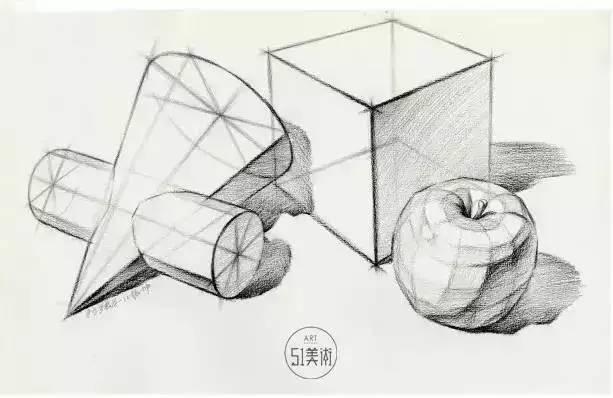 结构素描静物默画表现物体立体感和质量感
