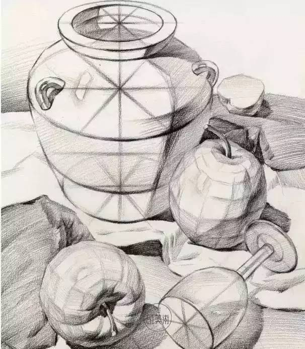 结构素描静物默画表现物体立体感和质量感图片
