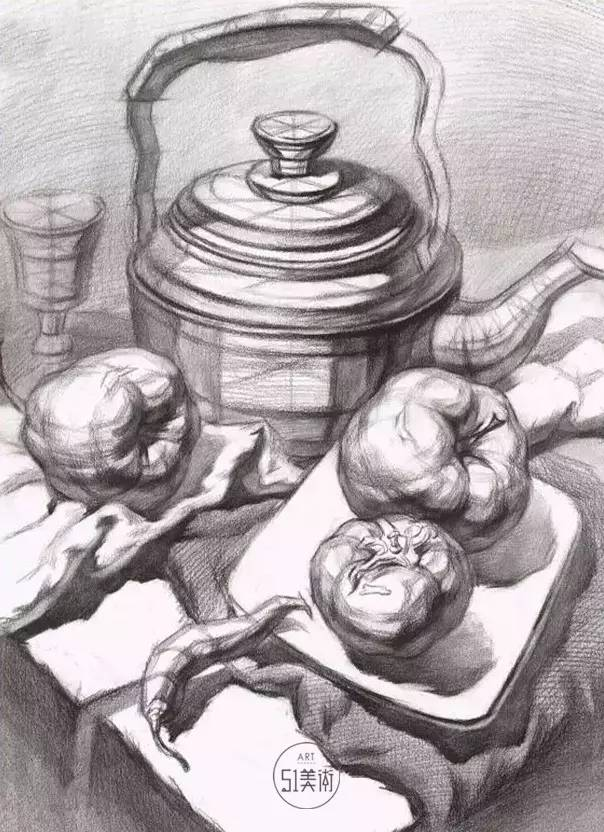 【教程】结构素描静物默画表现物体立体感和质量感