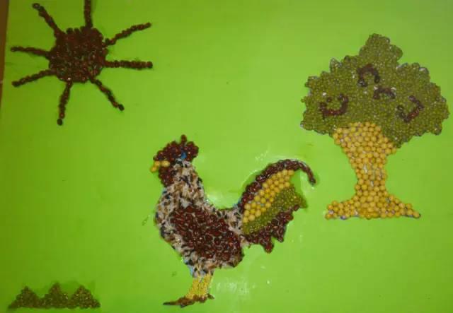 幼儿园创意手工豆子画,美术手工都可以哦!