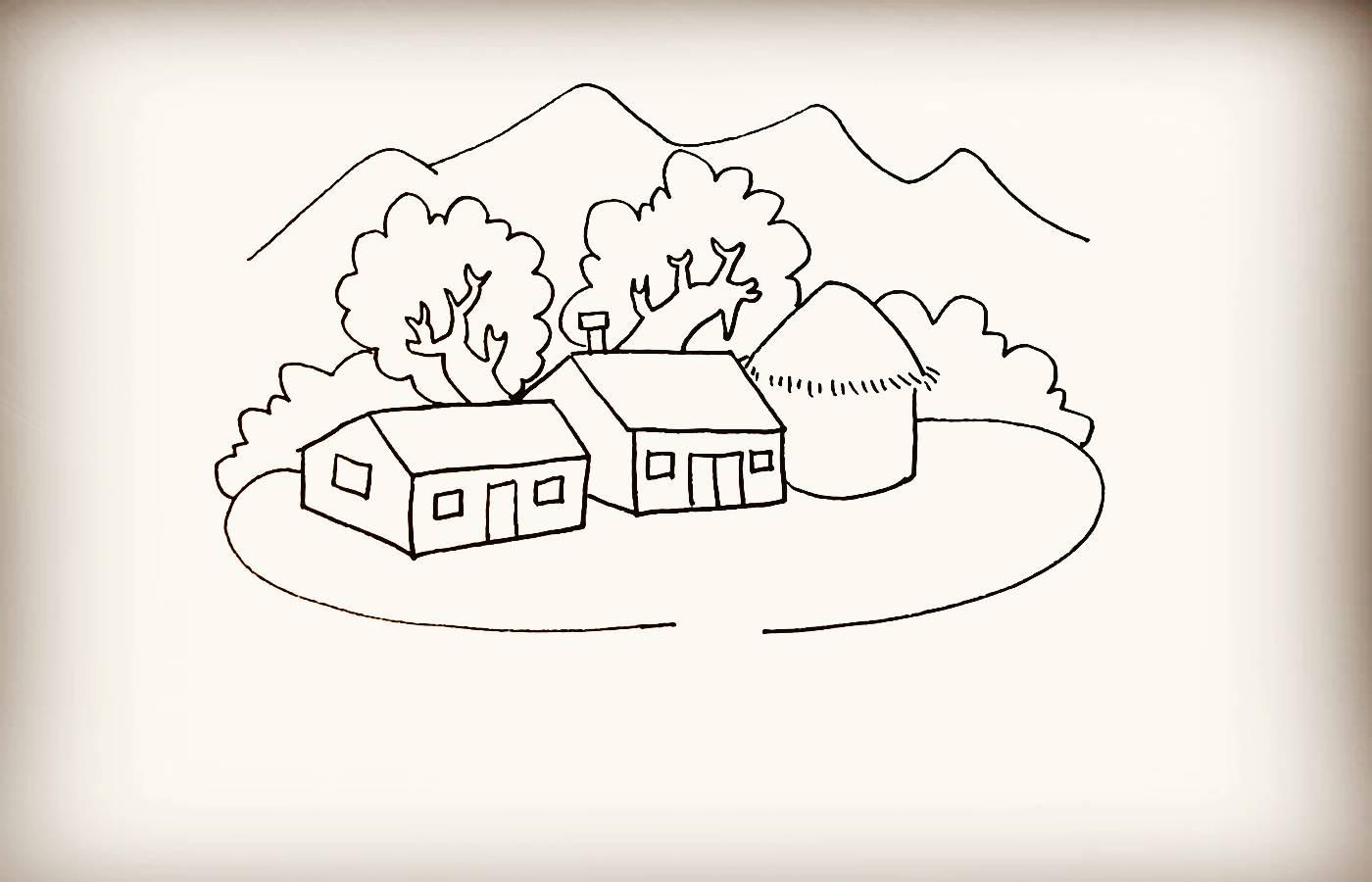 大树房子河流简笔画
