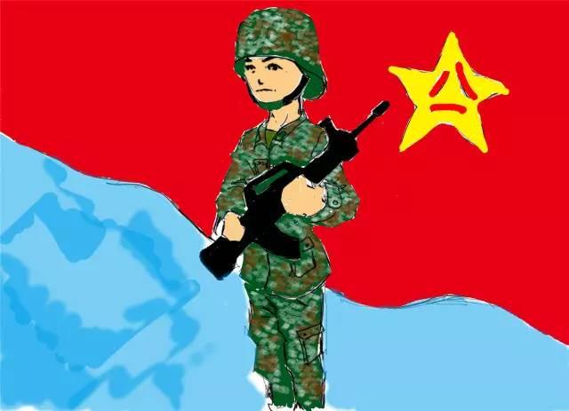 军人动漫图片手绘图片