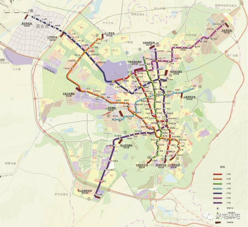 乌鲁木齐地铁线路规划图▼