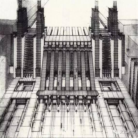 桑泰利亚:设计图,出自《新城市》, 1914