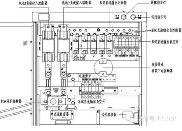 """(2)直流配电单元实物图   如下图,基站电源-48v应该接到一次下电熔丝接口上,熔丝工作电流应为63a,""""工作地""""应该接到电源柜统一接口."""