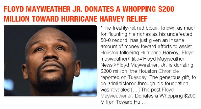 谁说梅威瑟只会炫富?拳击英雄向休斯顿灾区捐2亿美元