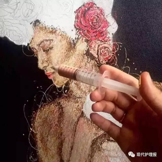 大开眼界!24岁女护士用注射器作画