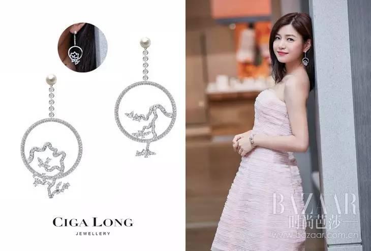 身穿浅粉色礼服裙的陈妍希,佩戴Ciga Long 钻石吊坠耳环,优雅中不乏精致魅力。