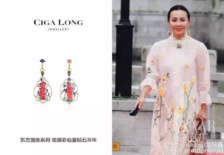 刘嘉玲身穿印花礼服佩戴Ciga Long东方国画系列珐琅彩仙童钻石耳环,展现出十足的东方女性美感